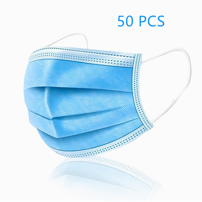 Disposable Face Masks - For Personal Daily Health Protection - Pack of 50PCS, 3-PLY, Blue Color