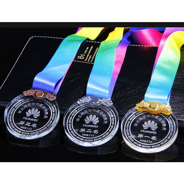 SCM017-7 Crystal Medal,can laser engrave club logo and winner name,free shipping